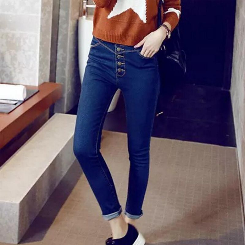 Women Comfy High Waist Jeans Five Button Stretch Tight-fitting Cowboy Female Pants Solid Color Slim Long Curling Feet Trousers image