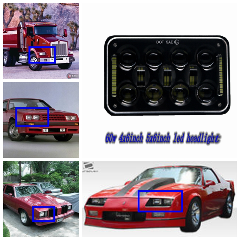 60W DRL Led Rectangular Lamps Auto Replacement 4x6 Sealed Beam Bulbs For Chevy Camaro Iroc-Z H4 LED Square high-low beam