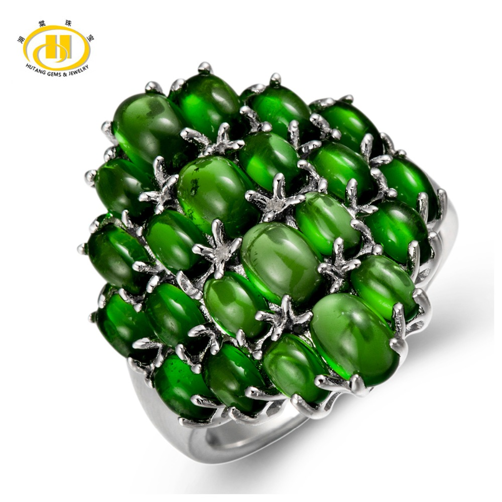 Hutang 6.75Ct Natural Chrome Diopside Cabochon Solid 925 Sterling Silver Cluster Ring For Womens Jewelry Gift цена и фото