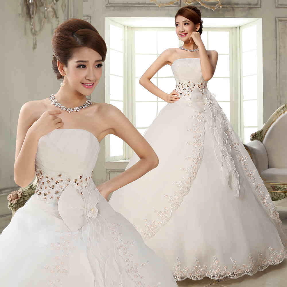 2017 New A Line Flowers Strapless Off The Shoulder