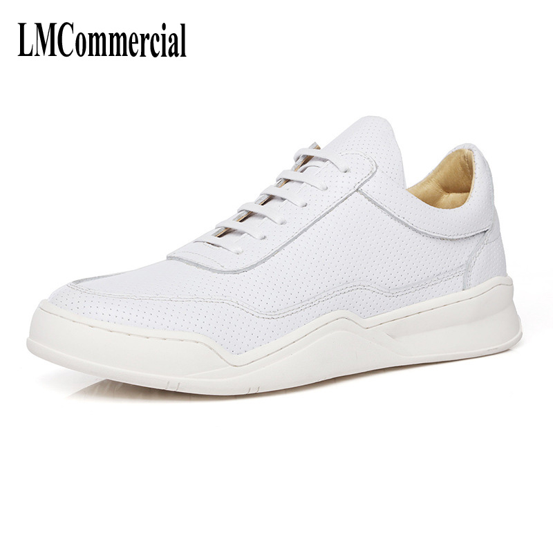 The spring and summer of 2017 small white shoes male leather men casual shoes lace punching outdoor breathable boots light the new spring and summer leather shoes breathable sneaker fashion boots men casual shoes handmade fashion