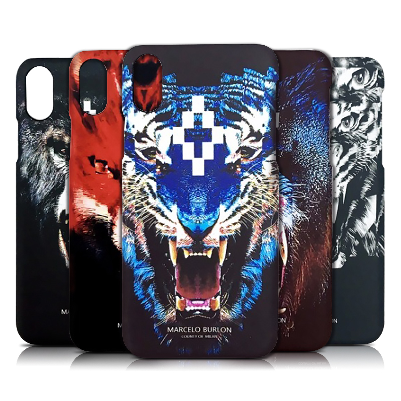 huge discount 4cb0f 952aa US $4.61 |Hard Cases for iPhone X Marcelo Burlon Cover Tiger Fox Skull PC  Covers Marcelo Case Back Phone Protector For iPhone 10 No Box-in Fitted ...