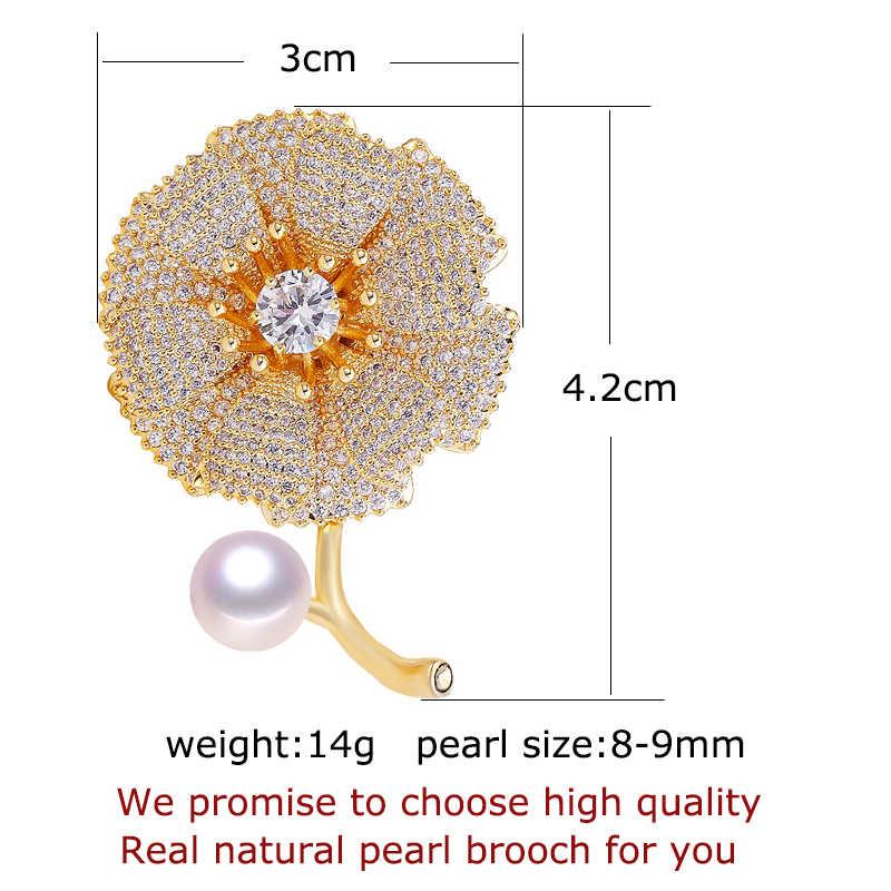 Shdiyayun Baik Pearl Bros untuk Wanita Emas Sutra Tekstur Bunga Bros Mutiara Air Tawar Alami Fine Perhiasan Non Memudar
