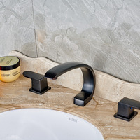 Contemporary Vessel Waterfall Oil Rubbed Bronze Bathroom Basin Faucet Mixer Tap Dual Handles
