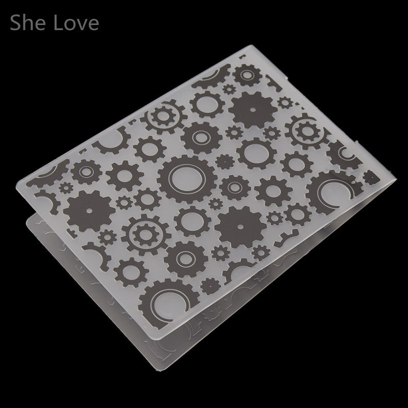She Love Plastic Embossing Folder Trapezoidal Gear DIY Scrapbooking Photo Album Card Paper Craft Decoration plastic embossing foldet flower diy scrapbooking photo album card paper craft decoration template