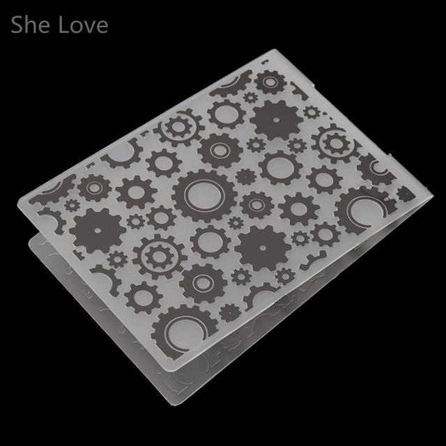She Love Plastic Embossing Folder Trapezoidal Gear DIY Scrapbooking Photo Album Card Paper Craft Decoration