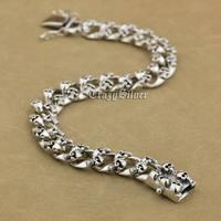 14 Lengths 925 Sterling Silver Handmade Skulls Mens Biker Punk Bracelet 9N020