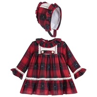 Baby Frocks Girl Long Sleeve Red Plaid Dress Kids Spanish Boutique Princess Clothes Set Infant Birthday Christmas Party Outfits