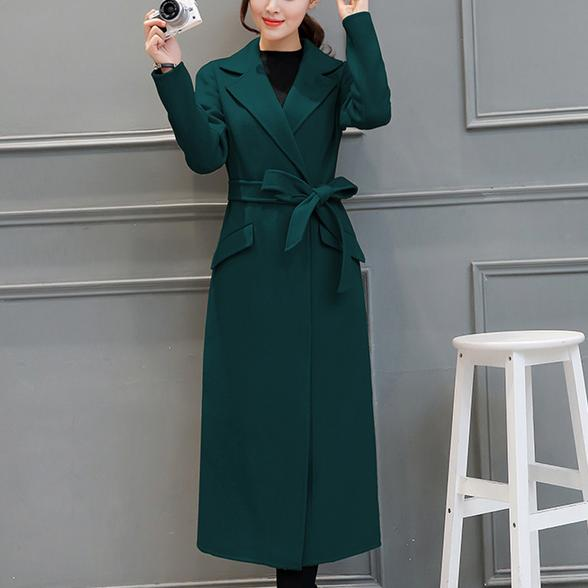 2018 Autumn Winter fashion Wool Coat Office Ladies 6 colors Long Slim Wool Coat Women slim belt woolen coat plus size 2XL 2016 new fashion fur collar women coat sexy ladies wool sweater double breasted thick skirt cotton dress 3 colors size s 2xl page 4 page 5 page