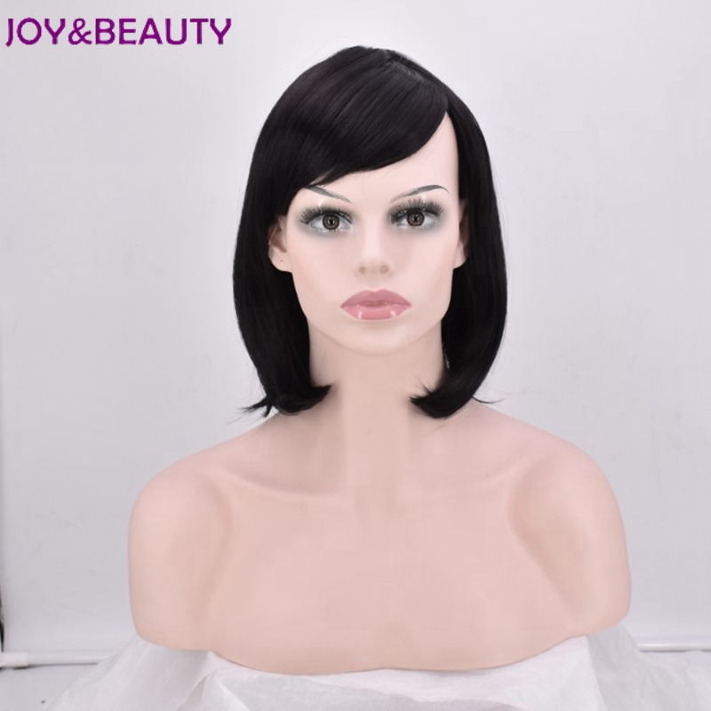 JOY&BEAUTY 14inch Short Straight Synthetic Side Parting Bob Wigs With Bangs For Black Women Brazilian Hairstyle Heat Resistant