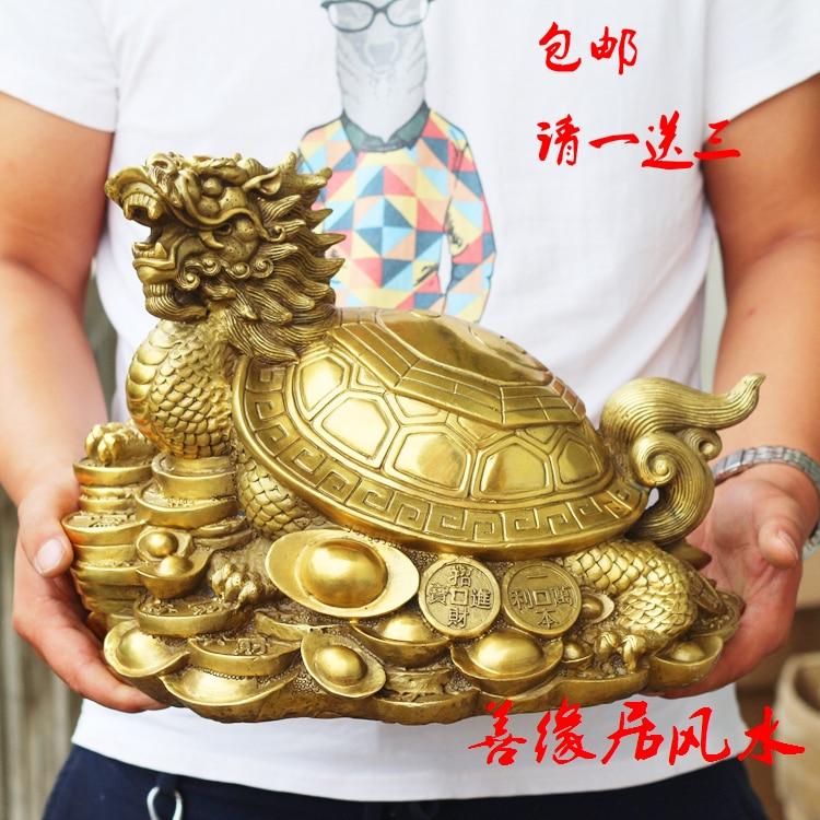 35 CM grand #2019 accueil TOP protecteur-efficace Talisman maison Protection argent dessin Dragon tortue FENG SHUI laiton statue