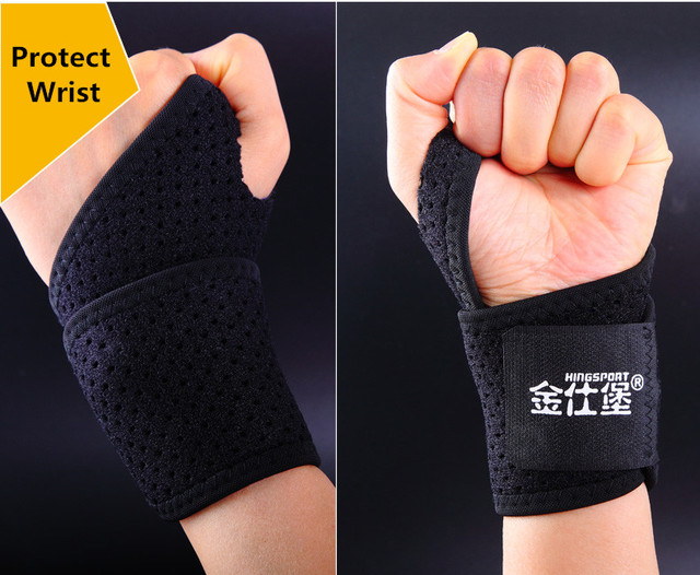 1pair Sports Wrist Support Breathable Weightlifting Tennis Golf Wristband Bracer Fitness Gym Wrist Protector L070