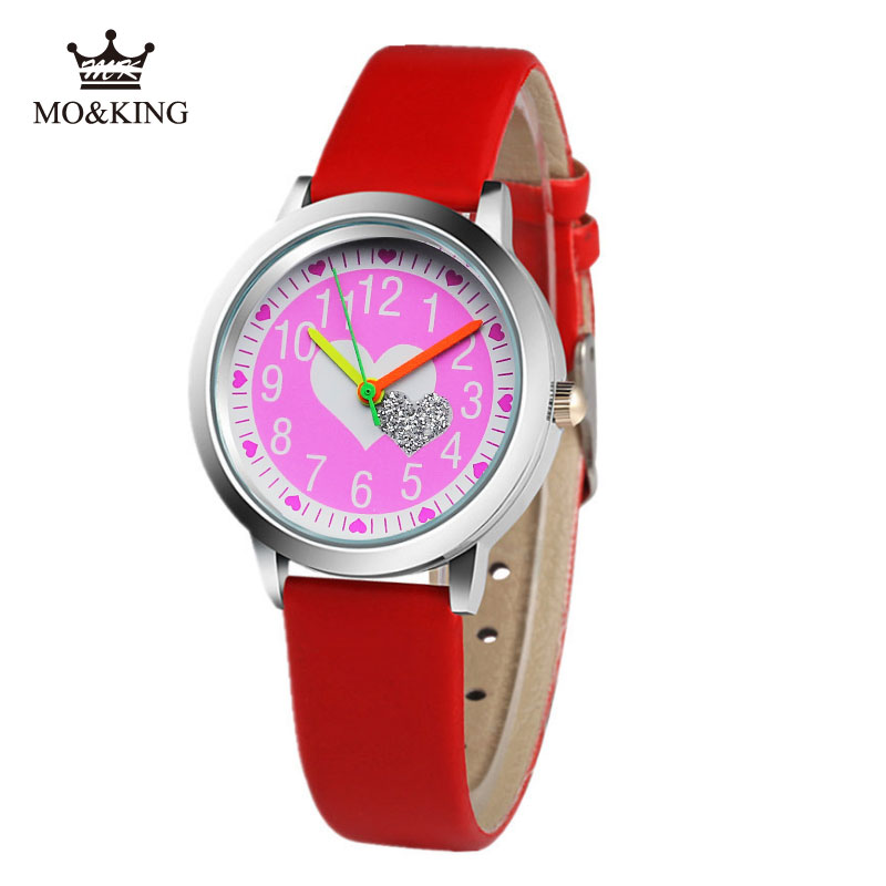 Kids Students Gift Clock Brand Children's Watch Little Boys And Girls Pink Love Luminous Jelly Leather Watch Love Relogio Reloj