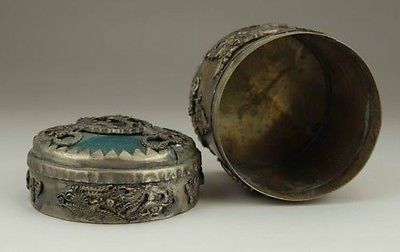 Exquisite Tibet silver dragon green jade jewelry boxin Bottles