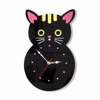 1pc Acrylic Clocks Wall Stickers Creative Cartoon Cat Shaped Wall Clock stick Way Silence Wall hanging Clocks Home Decor