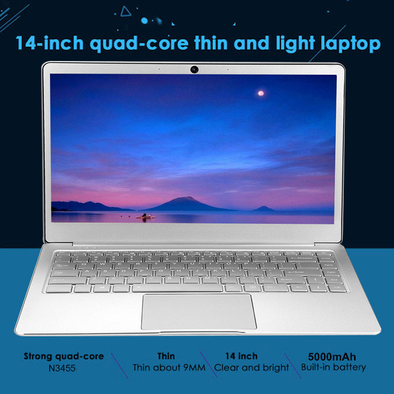 14.1 Inch Laptop Windows 10 16:9 1920*1080 FHD 6+128GB SSD Metal Case Backlit Keyboard Bluetooth 4.0 Dual-band Wifi Notebook