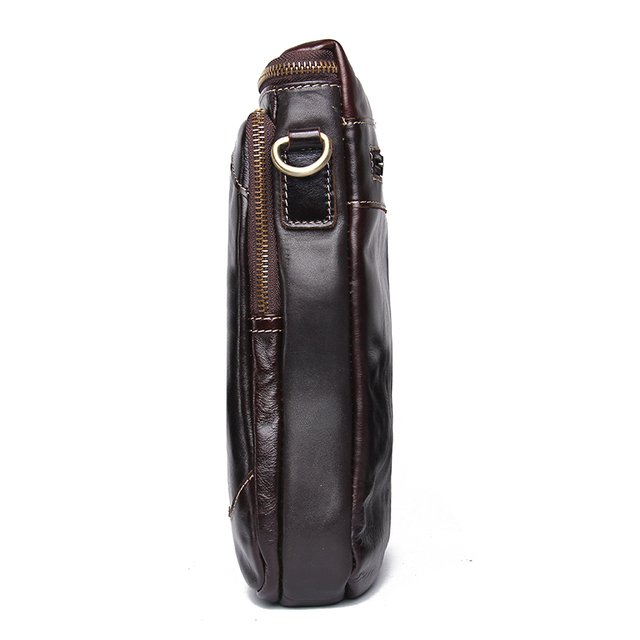 CONTACT'S HOT!! 2019 Genuine Leather Bags Men High Quality Messenger Bags Small Travel Dark Brown Crossbody Shoulder Bag For Men 1