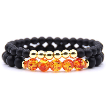 Bracelet couple longue distance orange