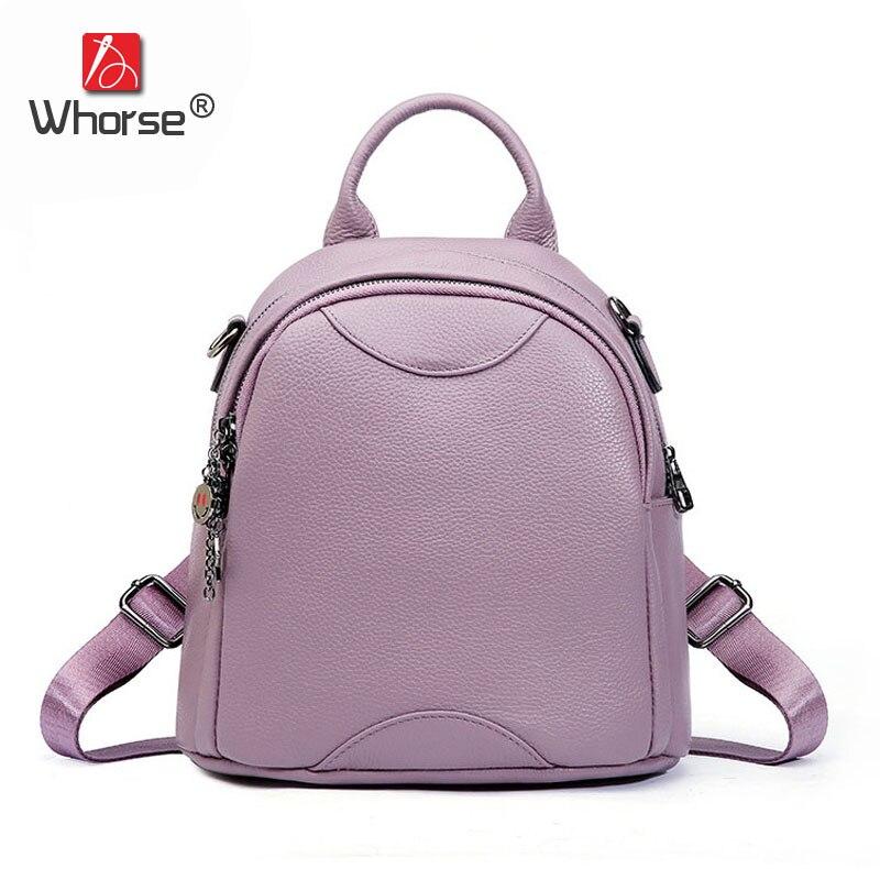 Fashion Circular Ladies Backpack Natural Cowhide Womens School Bag Daypack Genuine Leather Ladies Backpacks Travel Bags W09760