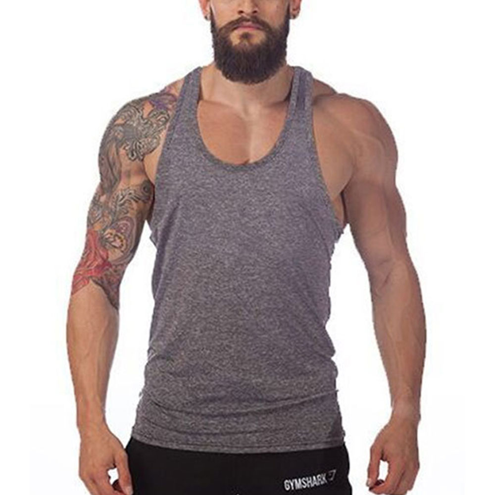 7348bde20499a 2017 New Solid Bodybuilding Tank Top Men Vest Sleeveless Shirt Stringer Fitness  Muscle Vest Y Back Clothing Undershirt M 2XL-in Tank Tops from Men s ...