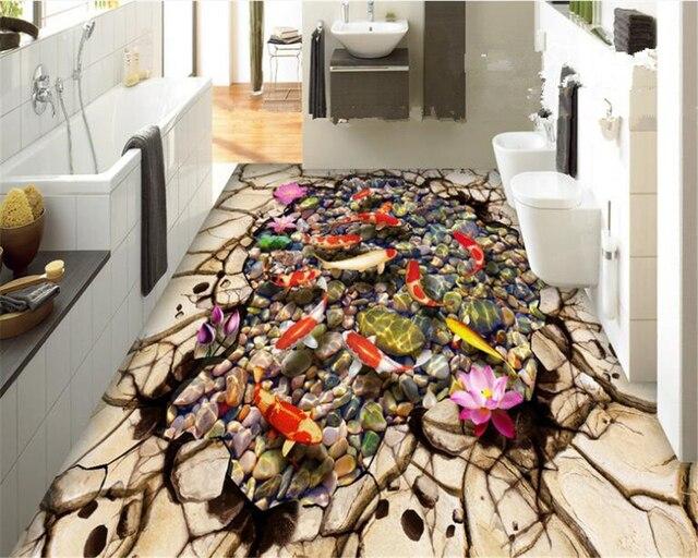 Beibehang 3d Bodenbelag Mode Dekoration Malerei Große Tapete Lotus Koi  Teich Stein Badezimmer Boden Fliesen Papel