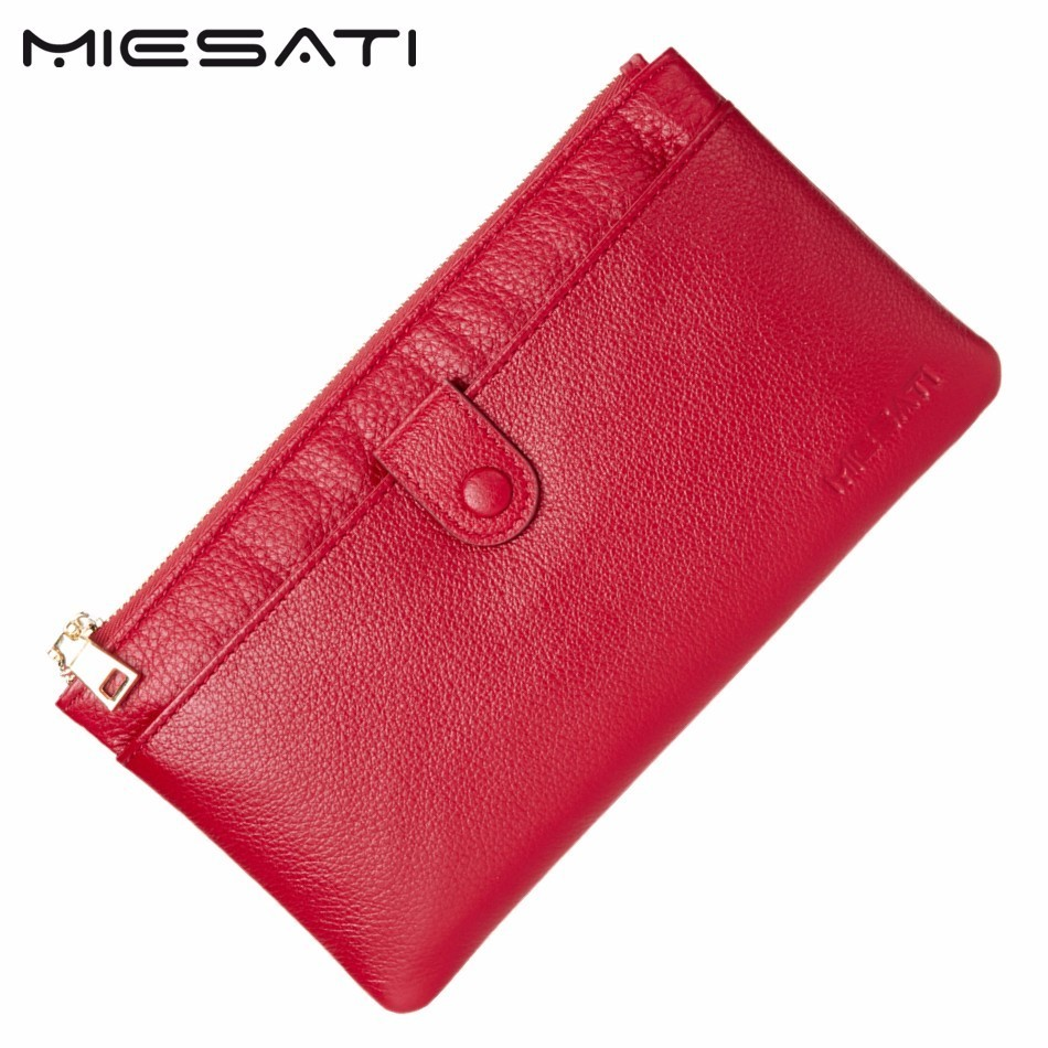 MIESATI 100% Genuine Women Zipper Wallets Cow Leather Ladies Purses Lady Coin Pocket Red Long Wallet Female Clutch Bag For Women brand double zipper genuine leather men wallets with phone bag vintage long clutch male purses large capacity new men s wallets