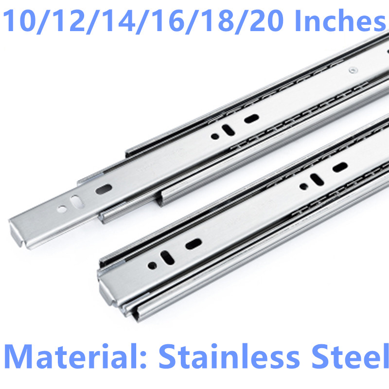 10/12/14/16/18/20 Inches Drawer slide rail keyboard slide rail stainless steel three section wardrobe ball slide rail stainless steel three drawer slide rail track rail thick ultra quiet load bearing 45kg