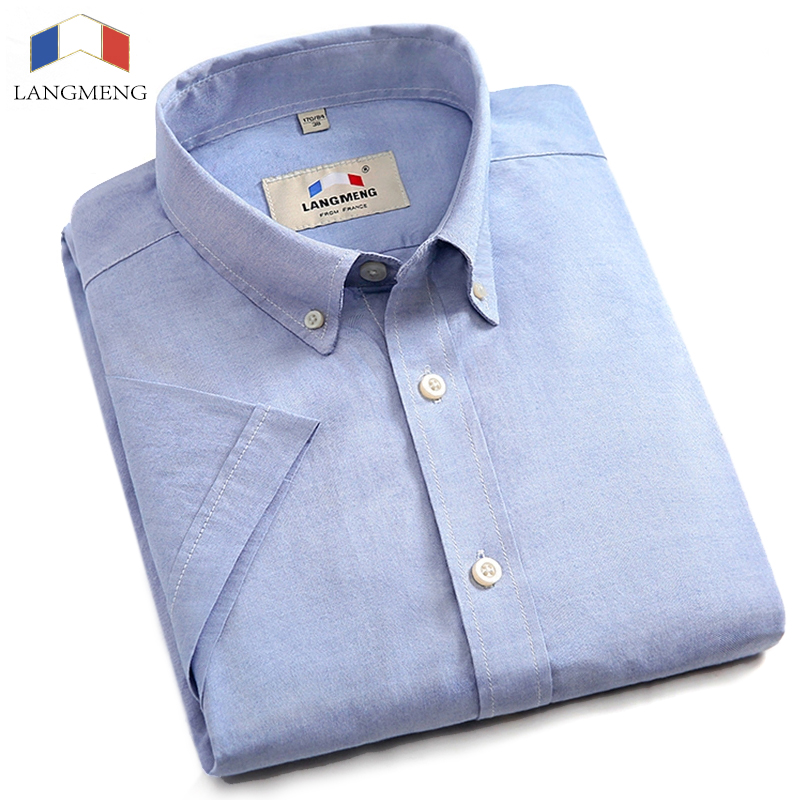 Langmeng new 100 cotton black white casual shirts mens for 100 cotton dress shirt