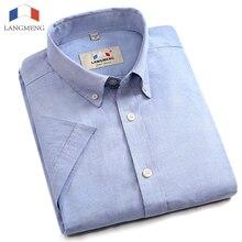 Langmeng new 100% cotton black white casual shirts mens dress shirt men fashion 2017 summer high quality short sleeve male shirt