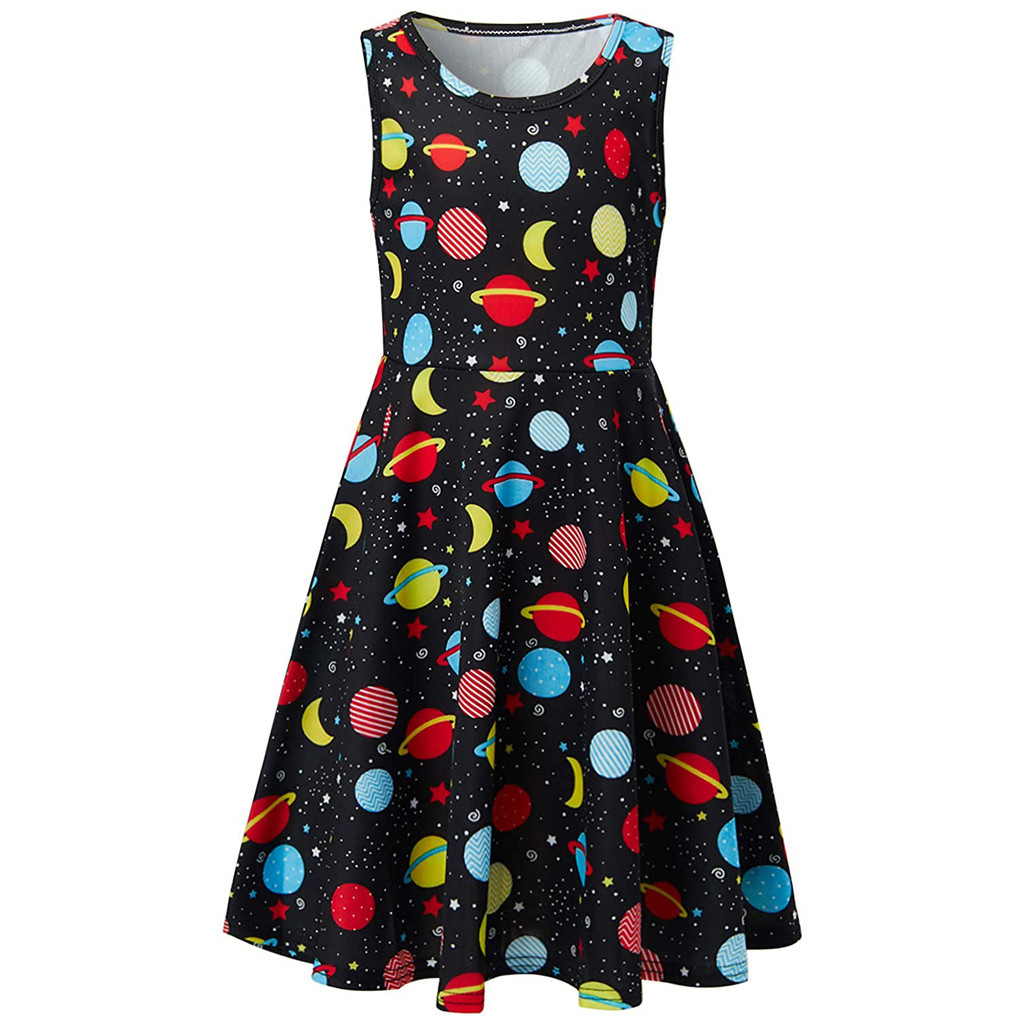 Mother & Kids Youth Teen Kids Girl Sleeveless Planets Print Dress School Party Flakes Clothes A-line Cotton Children Soft Clothes Kids Clothes Beneficial To Essential Medulla Girls' Clothing