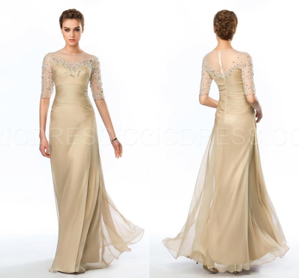 Mother Of The Bride Groom Dresses: Beaded Half Sleeve Floor Length Mother Of The Bride