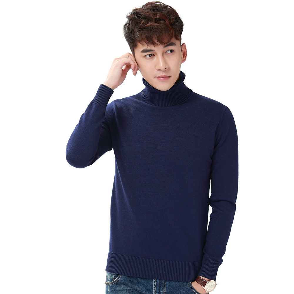 Harajuku Men Solid Color Turtleneck Loose Brief Thermal Thickening Retro Sweater Male Handsome Knitted Jumper And Pullover (4)