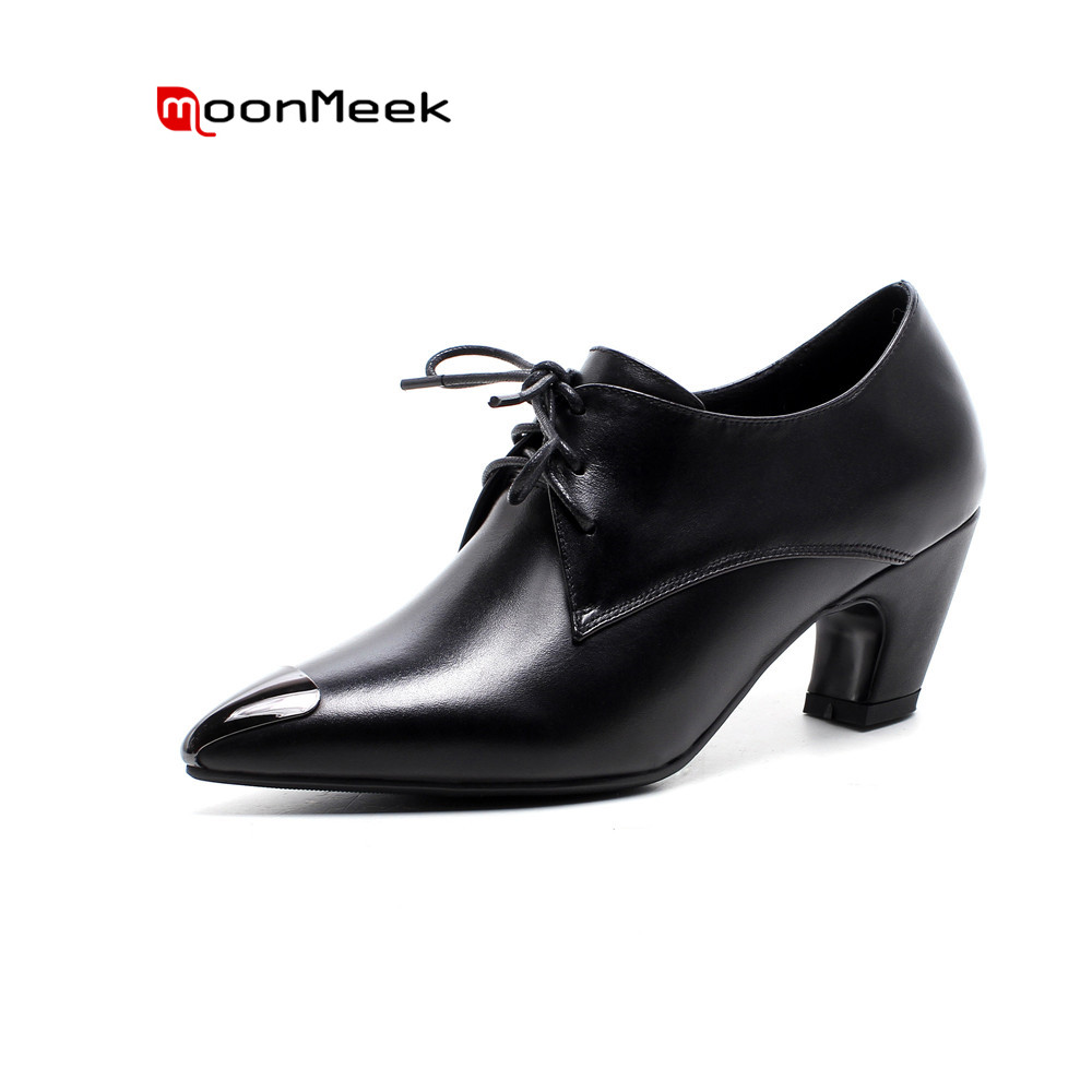 MoonMeek 2018 fashion spring winter new women shoes simple pointed toe genuine leather med heel casual woman pumps fashion new spring summer med high heels good quality pointed toe women lady flock leather solid simple sexy casual pumps shoes