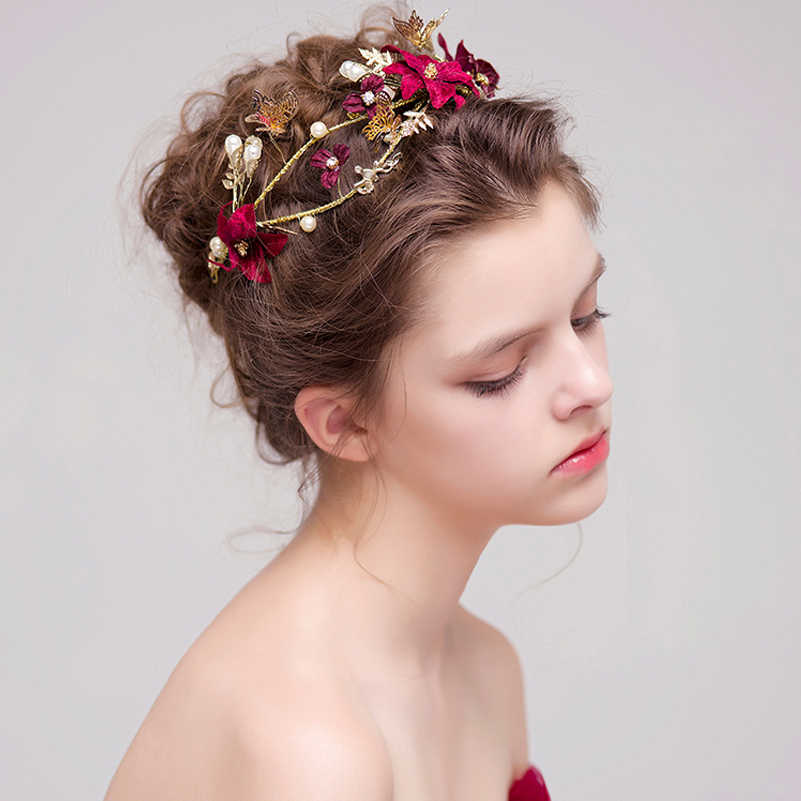 Bridal Hairstyles Gold Leaves Red Flower Pakistani Butterfly