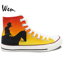 Wen Original Hand Painted Shoes for Men Women Design Custom West Cowboy High Top Flats Lace Up Canvas Sneakers for Gifts