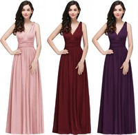 Robe de soiree Sexy V Neck Burgundy Pink Cheap Evening Dresses Long 2019 A Line Chiffon Prom Dresses Formal Party Gown
