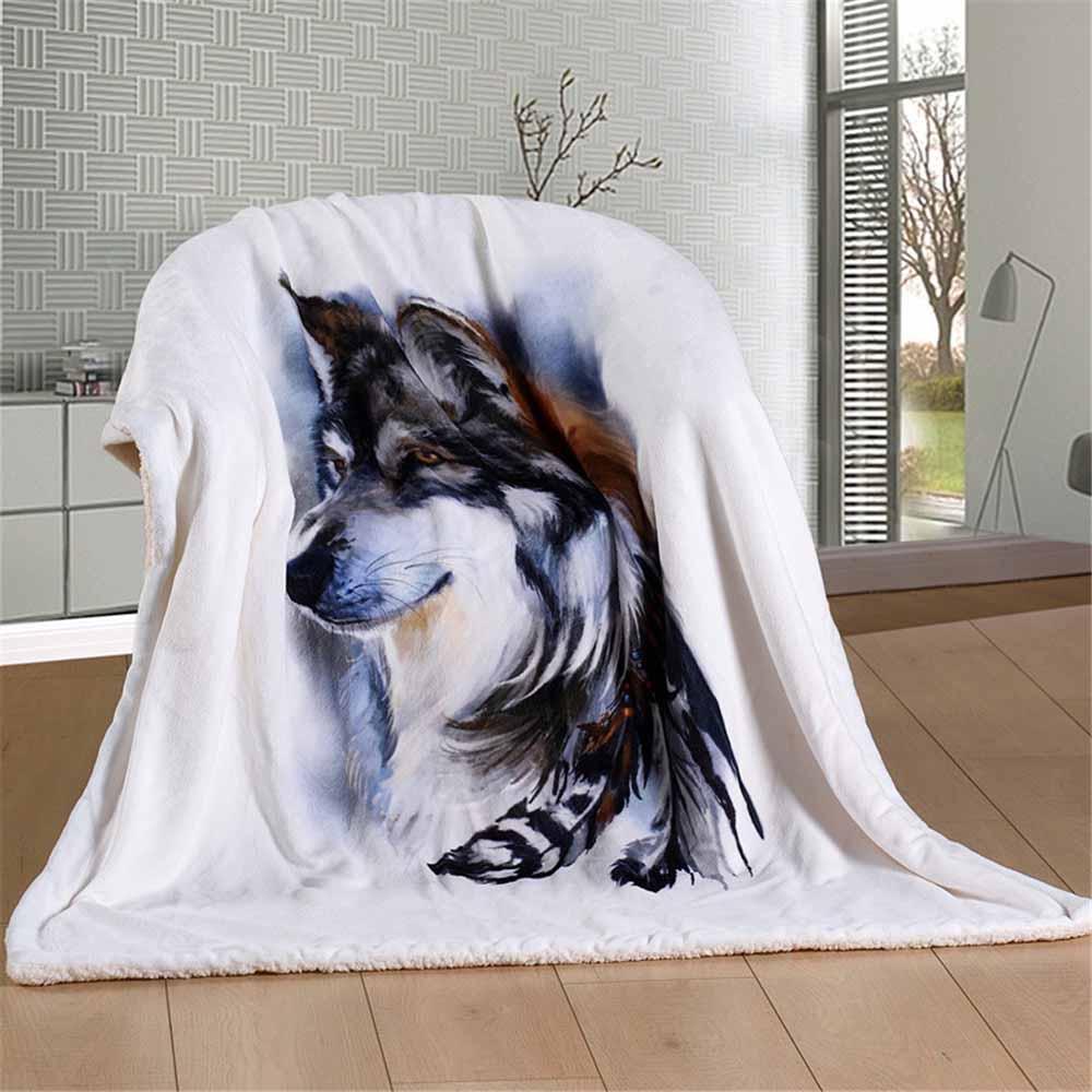 WINLIFE couverture en fausse fourrure Super douce couvertures de loup 3D et jette une couverture de lavage en Machine facile à entretenir