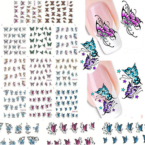 11pcs 11 Designs Mixed Butterfly Foil Printing Nail Art Water Transfer Stickers Decals Decorations DIY Nail Tips SABLE1390-1400 fwc hot diy designs nail art beauty flower water stickers nails decoration decals tools