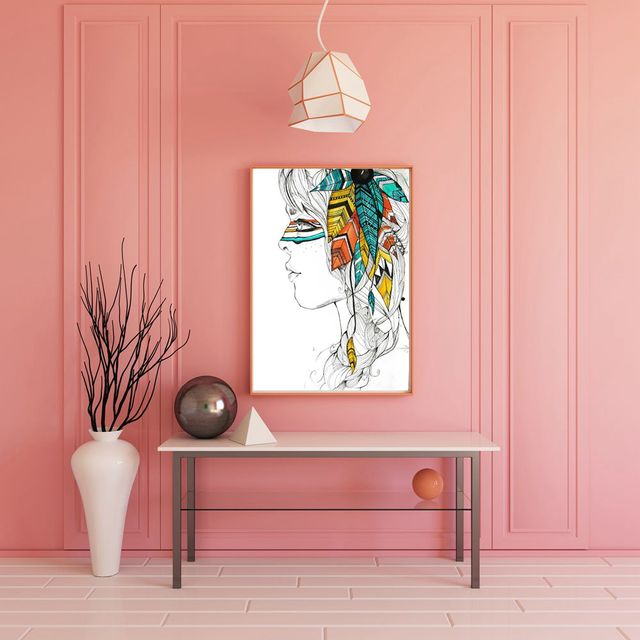 Pencil Draw Artwork Print Indian Girl Color Painting Canvas Wall Art For Bedroom Office Decoration