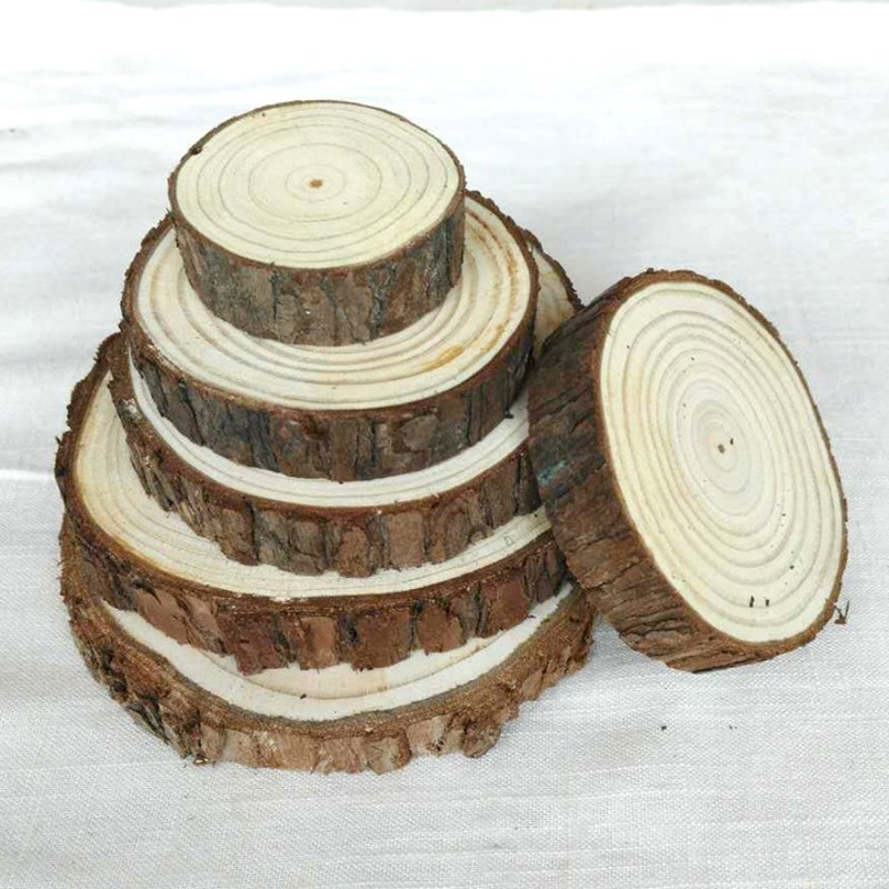 10Pcs/Set Round Wooden Chips Natural Wood Slices Tablemat
