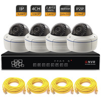 NVR System Vandalproof Dome 4CH 1080P IR Network IP CCTV Security Camera P2P