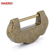 NAIERDI 75*37mm Chinese Vintage Antique style Lock Zinc Alloy Bronze padlock Jewelry Box Keyed Padlock Wooden Suitcase Drawer