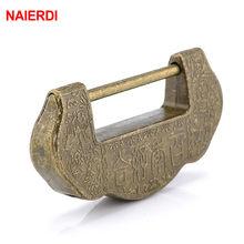 NAIERDI – cadenas à clé en alliage de Zinc et Bronze, boîte à bijoux, serrure de style Antique chinois Vintage, tiroir de valise en bois, 75x37mm
