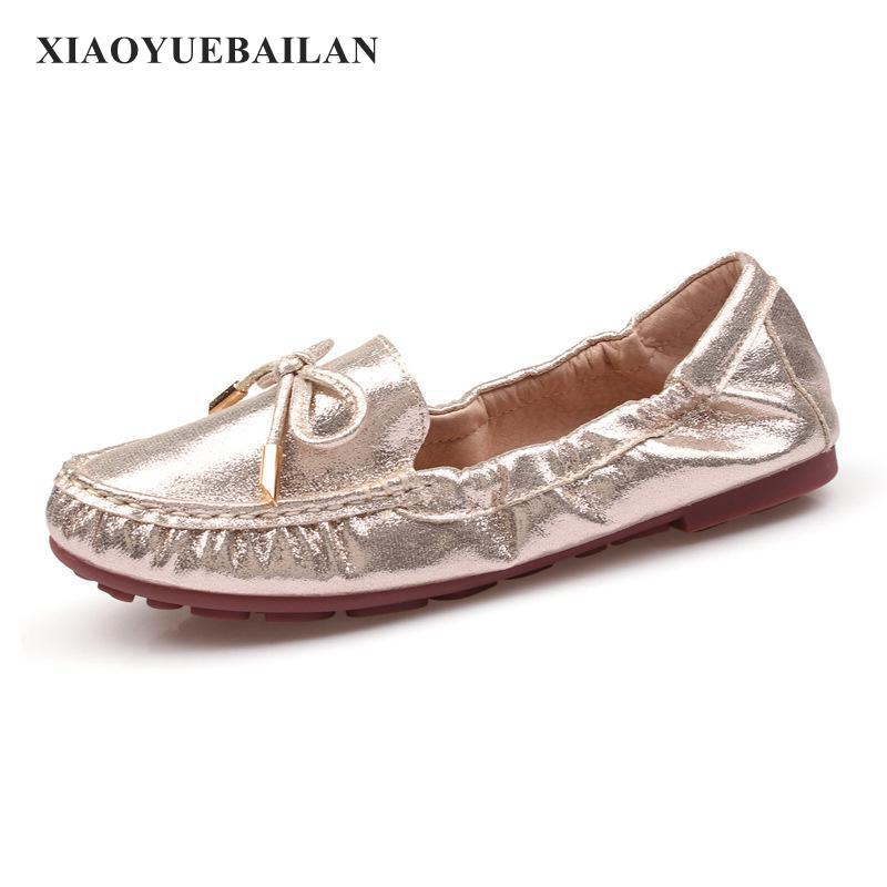 New Fashion Big Round Head Size Comfortable Mama Single Shoe Bow Tie Womens Shoes