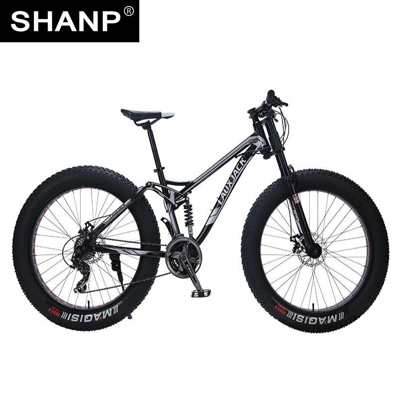 LAUXJACK Mountain Fat Bike Steel Frame Full Suspention 24 Speed Shimano Disc Brake 26x4.0 Wheel Long Fork lauxjack mountain bike aluminium frame