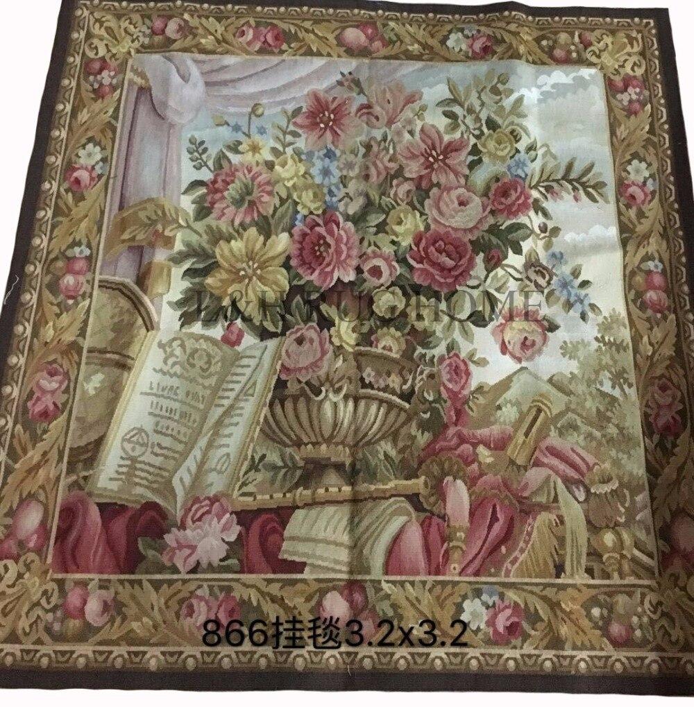Livraison gratuite 100% laine Aubusson tapisserie 100% fait à la main carré tapisserie tapis mur tapisserie