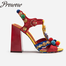 Prowow New Genuine Leather T-strap HIgh Heel Sandals Pom Pom Floral Summer Sandals Shoes Women summer new sandals chunky heel floral silver wedding dress shoes rhinestone luxurious genuine leather prom party high heels
