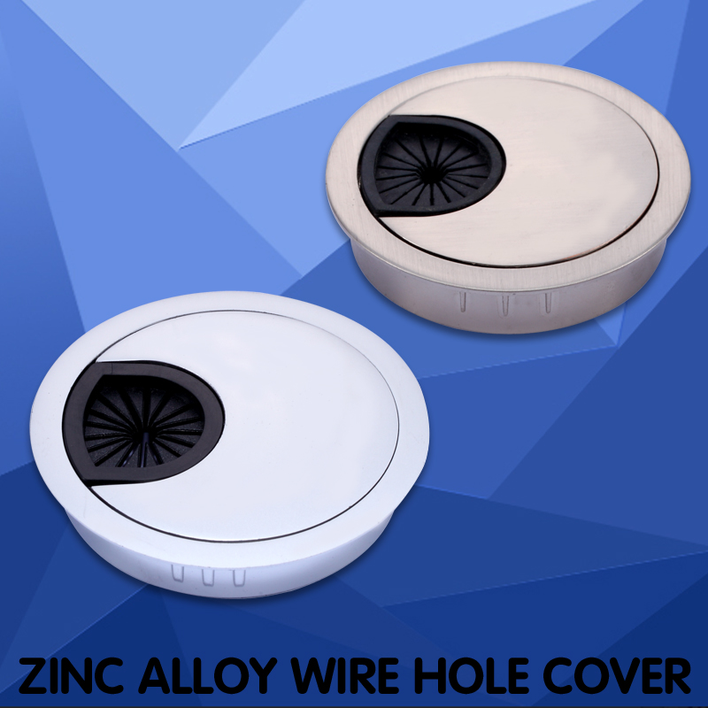 Myhomera Zinc Alloy Desk Wire Hole Cover Wiring Ducts Base Office Computer Grommet Table Cable Outlet Port Surface Line Box 60mm