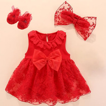 New Born Baby Girls Infant Dress & Clothes Lace Bow 1st Birthday For Girl Newborn Dresses 3 6 9 Months