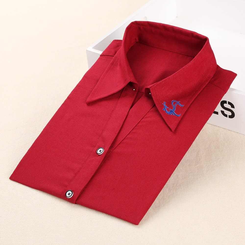 Dioufond新ブランドシャツ女性長袖ブラウスコットンプラスサイズの女性はターンダウン襟ファムシュミーズ女性ブラウス